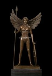 22and039and039 Ancient Greek Rome Bronze Art Sculpture Winged Hold Spear And Shield Athene
