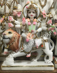12 Marble White Hand Painted Goddess Durga Maa Religious Sculpture Gifts E1448
