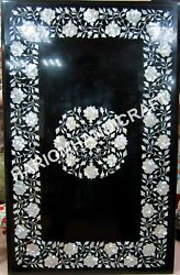4and039x3and039 Marble Table Tops Black Dining Table Handmade Mother Of Pearl Inlaid E543a