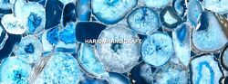 Marvelous Table Top Marble Blue Agate Inlaid Dining Precious Indian Decor H5582