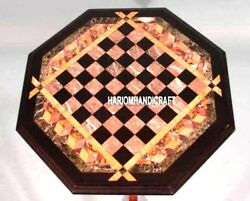 Antique Chess Board Brown Marble Coffee Table Inlaid Play Game Decorated H3238
