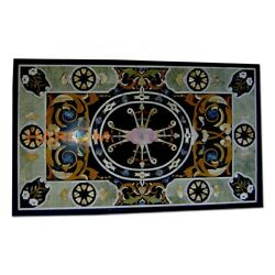 4and039x2and039 Black Marble Dinner Table Scagliola Stone Top Inlay Hallway Art Decor B341