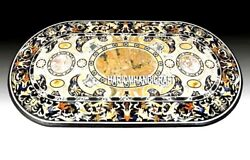 Black Marble Dining Antique Table Top Inlay Mosaic Oval Outdoor Arts Decor H3240