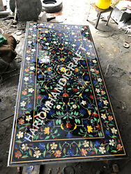 6and039x3and039 Marble Dining Table Top Multi Semi Precious Stones Marquetry Inlay E1490