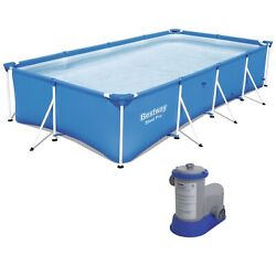Bestway 13ft X 7ft X 32in Rectangular Frame Above Ground Swimming Pool And Pump