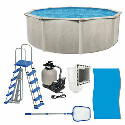Aquarian Phoenix 21and039 X 52 Steel Frame Above Ground Swimming Pool Kit With Pump