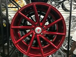 19x8.5 5x114.3 Et35 Cb73.1 Red Machined Face Red Clear Coat Set Of 4 Wheels