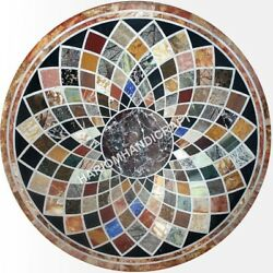 48 Round Marble Dining Table Top Garden Decor Multi Inlay Decors Gift E468c
