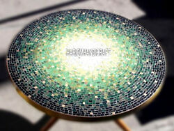 Excellent Marble Table Dining Corner Top Inlaid Malachite Stone Decor Arts H4036