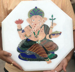 2.5and039x4and039 Marble Coffee Table Top Octagon Ganesha Inlay Home Decor Furniture E1274