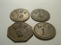 Lot 4 Diff Harmans Md Canning Token L.j.t. Pickers Check John Linton Tubbs