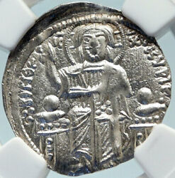Andronicus Ii Palaeologus Silver Basilicon Byzantine Coin Christ Ngc I84254