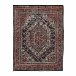 7and0399x10and03910 Red Farsian Moud With Geometric Design Hand Knotted Rug R49659