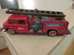 Sti Tin Toy Vehicle Fire Truck Car 27cm Vintage From Japan Free Shipping