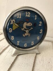 1958 SNOOPY With a Butterfly Net Equity Alarm Clock Charlie Brown Works