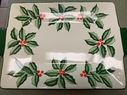 Baum Brothers Ceramic Christmas Platter Hand Painted Holly Collection 17 X 13
