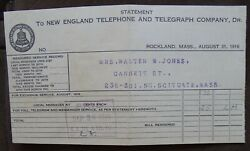 1916 New England Telephone And Telegraph Statement Rockland Situate Ma. Ne Tel Tel