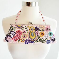 Ebisu Beaded Clutch Women#x27;s Pink Floral Embroidered Evening Bag Colorful Mini $29.00