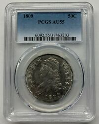 1809 Capped Bust Half Dollar Old Silver Collector Miss Liberty 50c Pcgs Au55