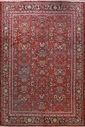 Antique All-over Floral Vegetable Dye Sarouk Farahan Large Area Rug Wool 11'x14'