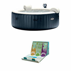 Intex 6 Person Inflatable Portable Bubble Hot Tub W/ Trio Water Softening Kit