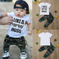 Toddler Kids Baby Boy Cute Outfits Short Sleeve T-Shirt Top+Pants Clothes Set $12.99