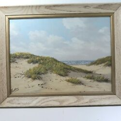 A.h.nordberg Artist Original Oil On Canvas Painting 1958 Dunes Mid Cent. 5/20