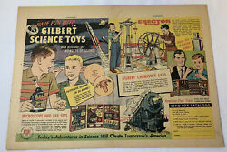 1957 Gilbert Science Toys Two Page Ad Erector Set, American Flyer, Chemistry