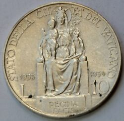 10 Lire 1933 1934 Vatican City Mary Queen Of Peace Pius Xi Silver Coin