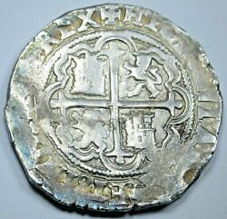 1500's Spanish Mexico Silver 4 Reales Antique Philip Ii Colonial Pirate Cob Coin