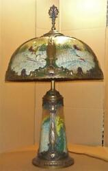 Antique Reverse Painted Table Lamp W/ Original Polychrome Panel Glass Shade Vtg