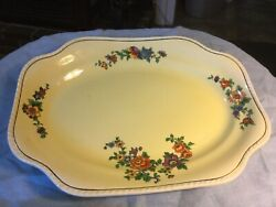 """Steubenville Ohio China Ivory 12.5"""" Pale Yellow Floral Platter"""