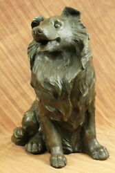 Vintage cast 100% Real Genuine Bronze collie dog shaped theme Garden decoration