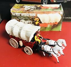 Old West Covered Wagon Vintage Battery Operated Mint In Box Cowboy Universal Toy