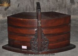 Chinese Ancient Royal Noble Huanghuali Wood Carved Food Utensils Container Box