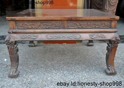 34a Collect Huge Chinese Huanghuali Wood Carving Dragon Beast Statue Table Desk