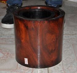 8old Chinese Huanghuali Wood Carved Calligraphy Tool Brush Pot Pencil Vase Set