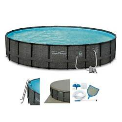 Summer Waves Elite 22ft X 52in Above Ground Frame Swimming Pool Set With Pump