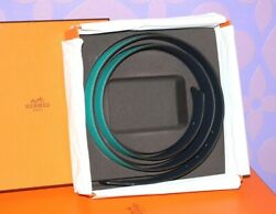Hermes Belt Strap Only Reversible Turquoise Navy 105 42mm Discontinued