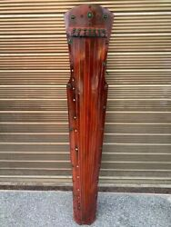 49 Collect Old China Huali Wood Inlay Gem Cultural Heritage Guzheng Qin Statue