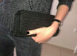 handmade handcraft knit bag for women black clutch casual $40.00