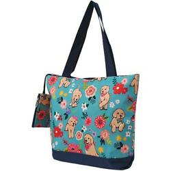 Floral Puppy Dog Purse Totebag wattached coin bag NGIL NWT Free Shipping $17.98