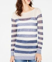 INC Women's Blue Large L Striped Open Stitched Shimmer Tunic Blouse $69 #216