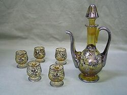 Vintage Art Deco Sterling Inlay Amber Glass Pitchers With Stopper And 5 Goblets