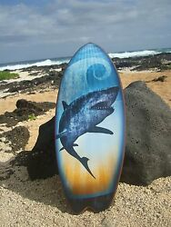Great White Shark Surfboard Sign Large Blue Beach Surfing Surfer Home Decor New