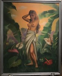 Original 1950's Oil Painting Of Nude Native Woman In Hawaii