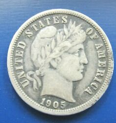 1905-o Micro O New Orleans Barber Silver Dime Choice Vf/xf T9
