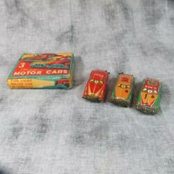 Scarce 1930's 3 Elvin Friction Cars In Original Box, G-men, Fire And Police Car
