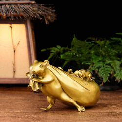 Rats pull gold bags bronze rats mice fortune and Fengshui copper ware $35.99