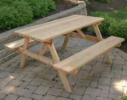8' Cedar Park Style Picnic Table With Attached Benches
